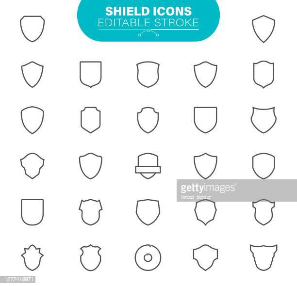 shield icons editable stroke - schutz stock-grafiken, -clipart, -cartoons und -symbole