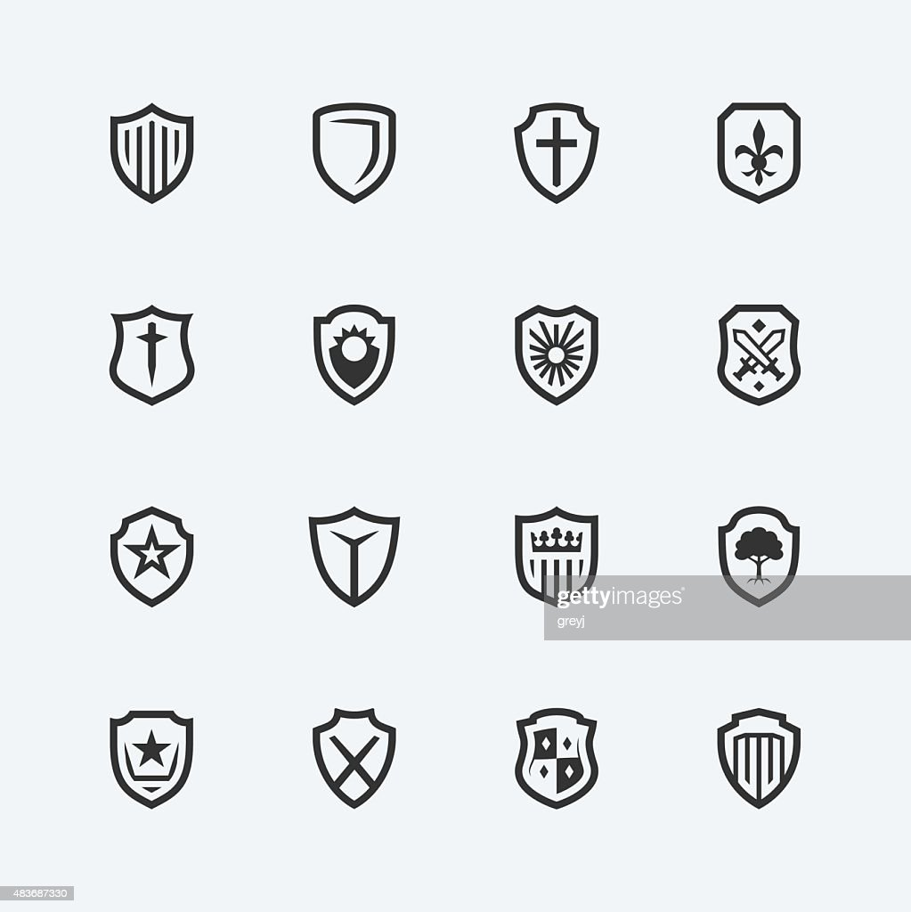 Shield icons on gray background