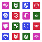 Shield Icons. White Flat Design In Square. Vector Illustration.