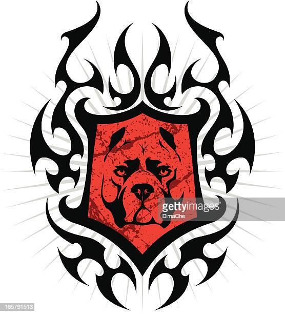 ilustraciones, imágenes clip art, dibujos animados e iconos de stock de protector de fuego con pit bull cabeza - pit bull terrier