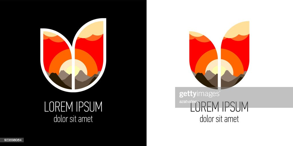 Shield in shape two leaves combination with double exposure effect. Sunset or sunrise beyond mountains vector illustration