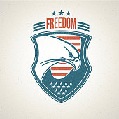 Shield logo with an American eagle symbol. Vector illustration