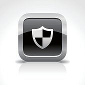 Shield Protection Glossy Button Icon