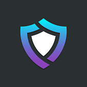 Shield safety logotype icon design template. Abstract symbol of security.