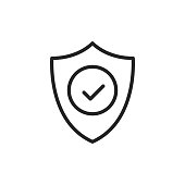 Shield with check mark line icon. Security, reliability, protection, safety concepts. Simple thin line design. Vector icon