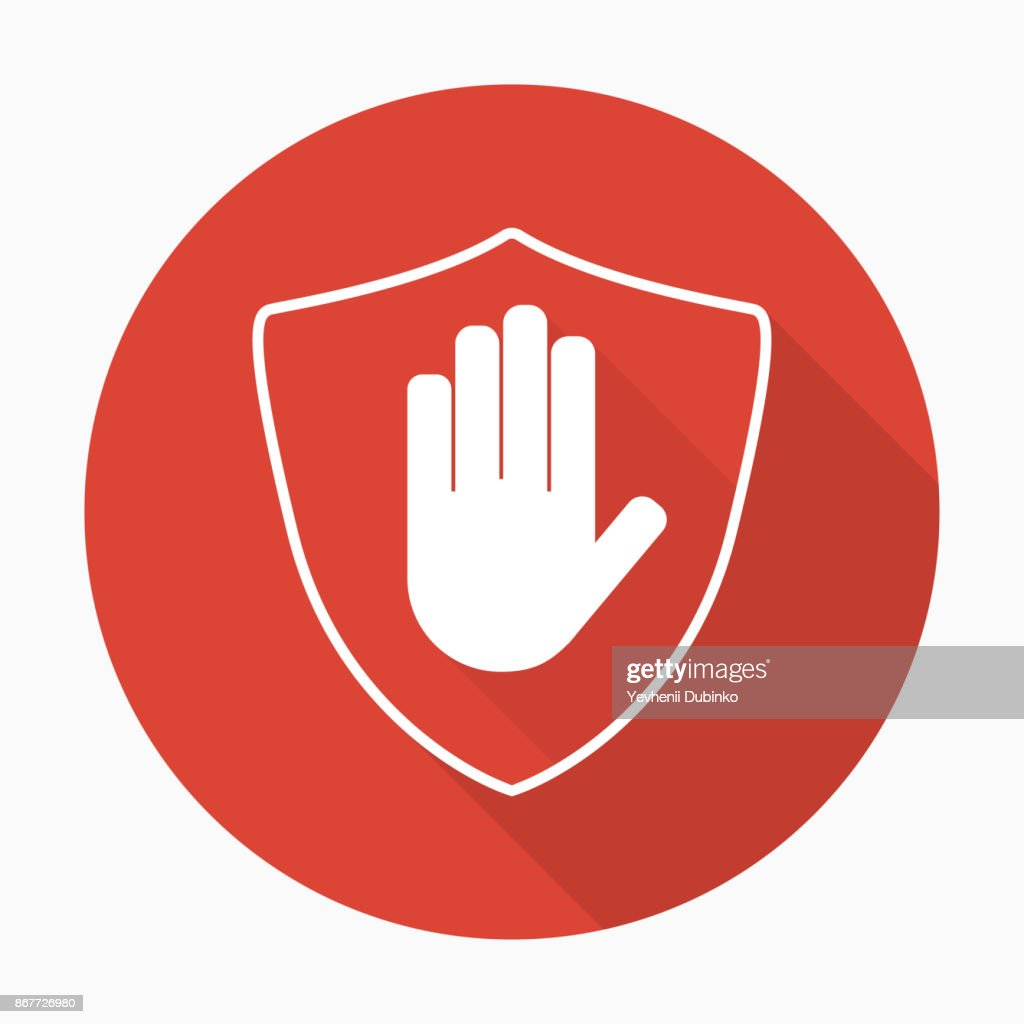Shield with hand block icon in flat style with shadow