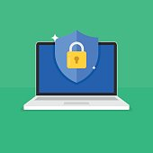 Shield with padlock icon on computer screen. Web security modern flat vector illustration.