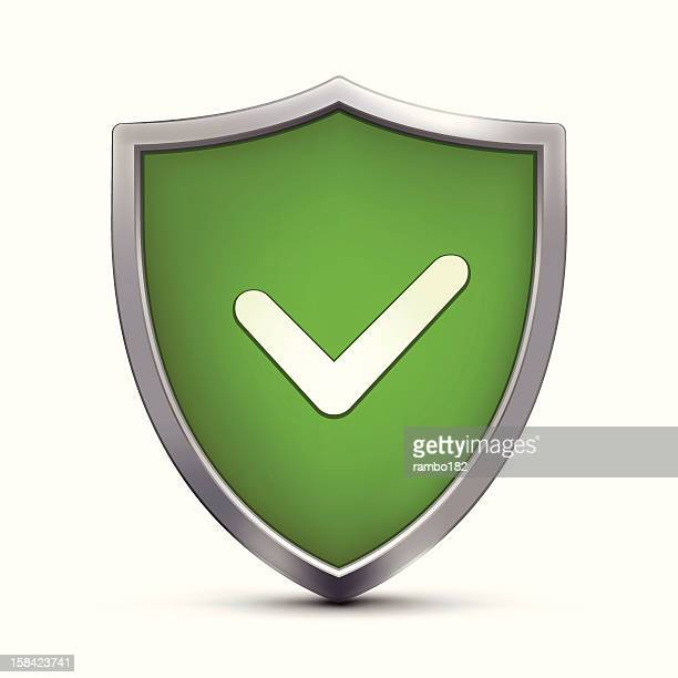shield with positive symbol - verification stock illustrations