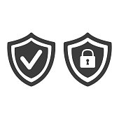 Shield with security and check mark icon on white background.