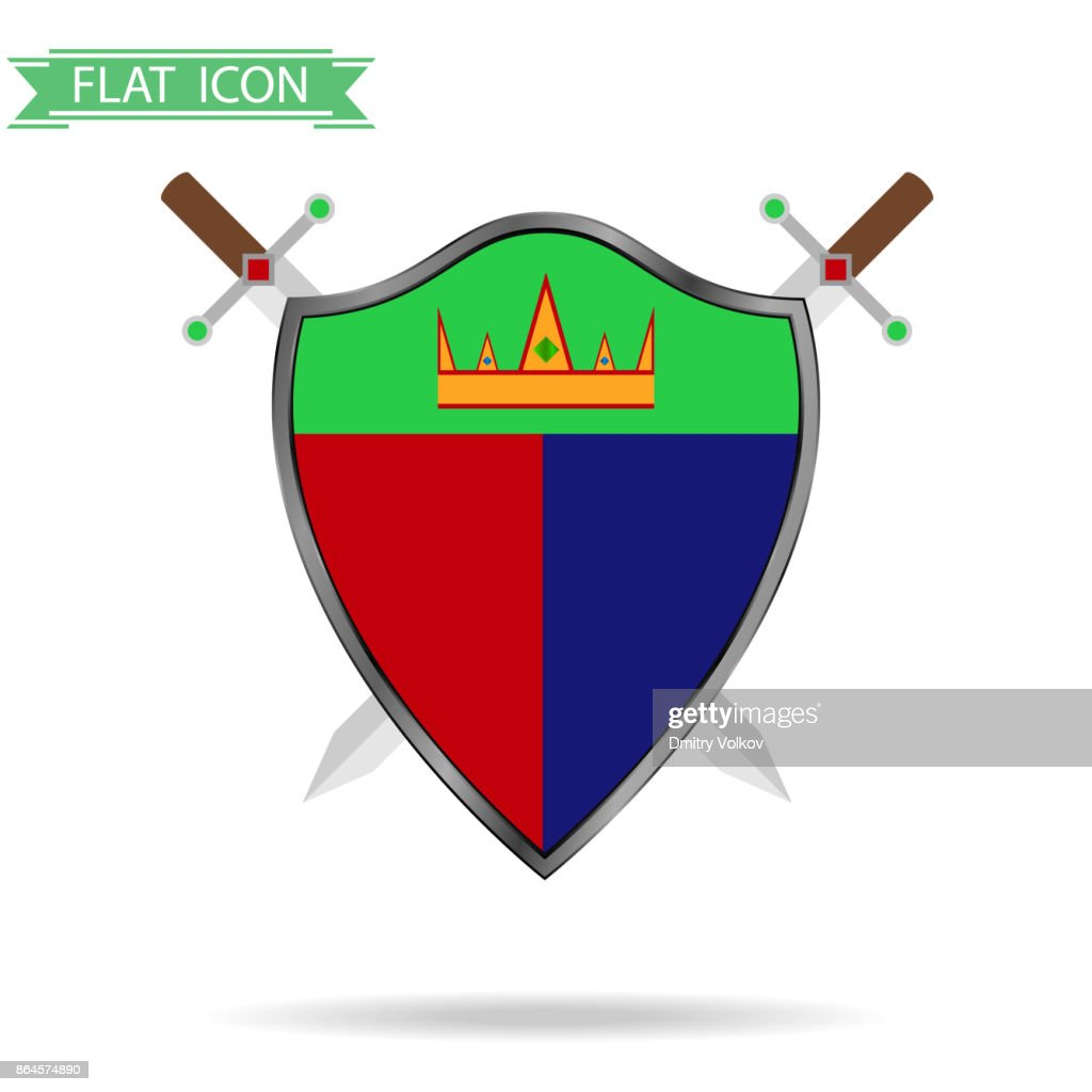 Shield with swords and shadow