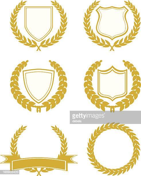 ilustrações, clipart, desenhos animados e ícones de escudos e emblemas - loureiro