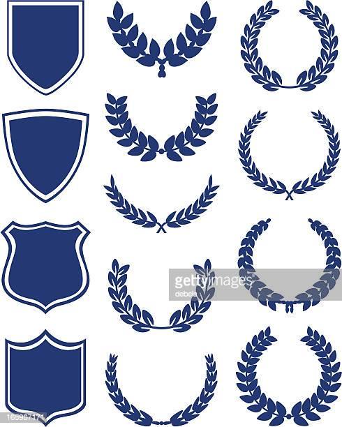 shields and laurel wreaths - laurel wreath stock illustrations