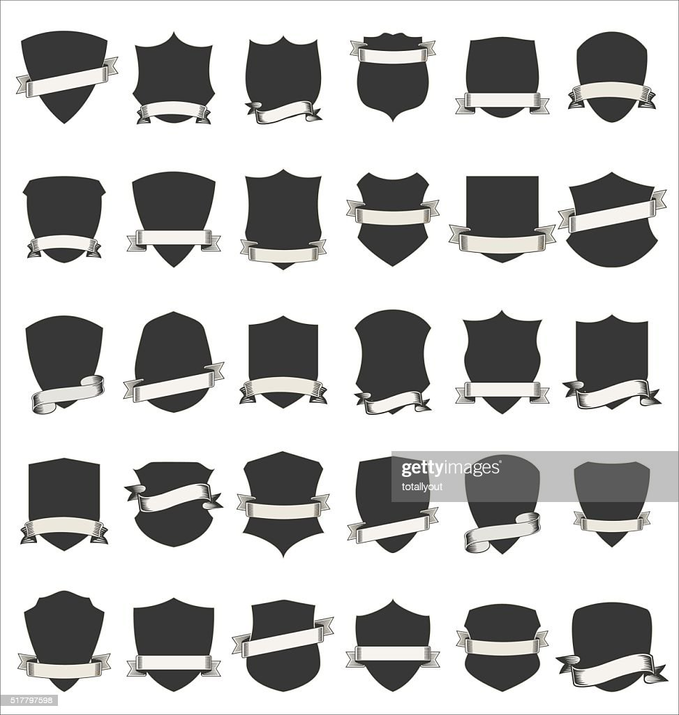 Shields and stylish retro ribbon collection isolated on white background