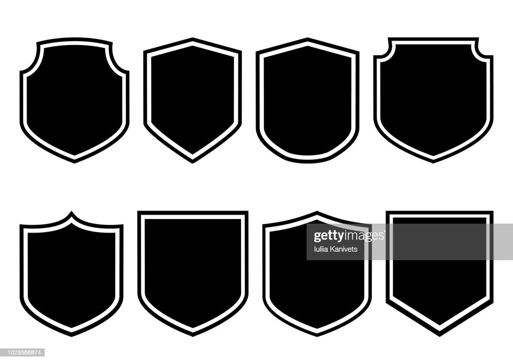 Shields collection. Black silhouette. Vector illustration