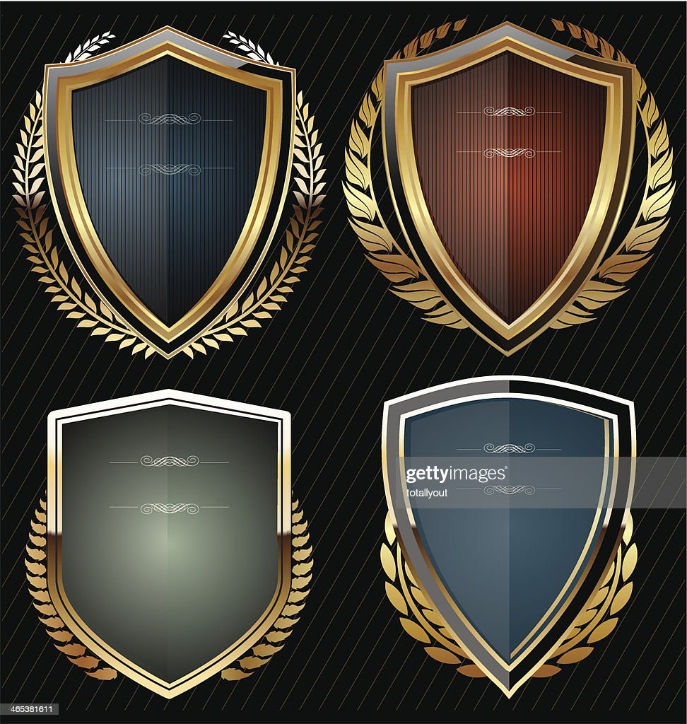 Shields with golden laurel wreath