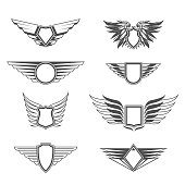 Shields with wings templates