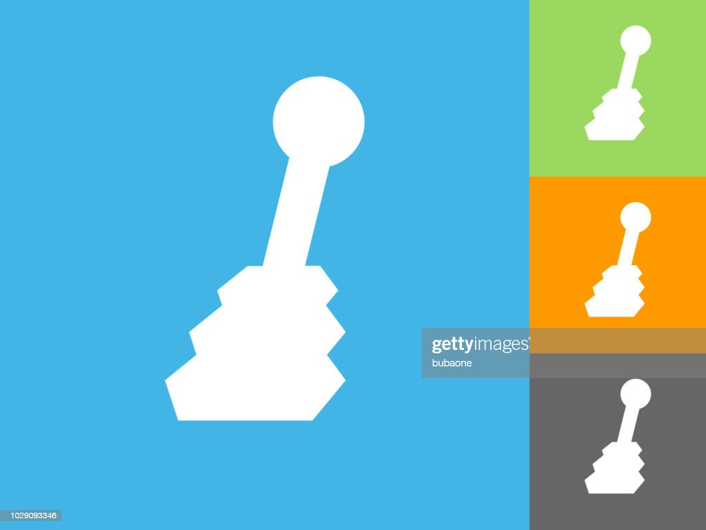 Shift Stick  Flat Icon on Blue Background : stock illustration