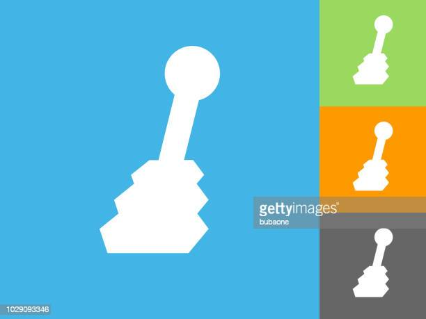 shift stick  flat icon on blue background - gearshift stock illustrations, clip art, cartoons, & icons