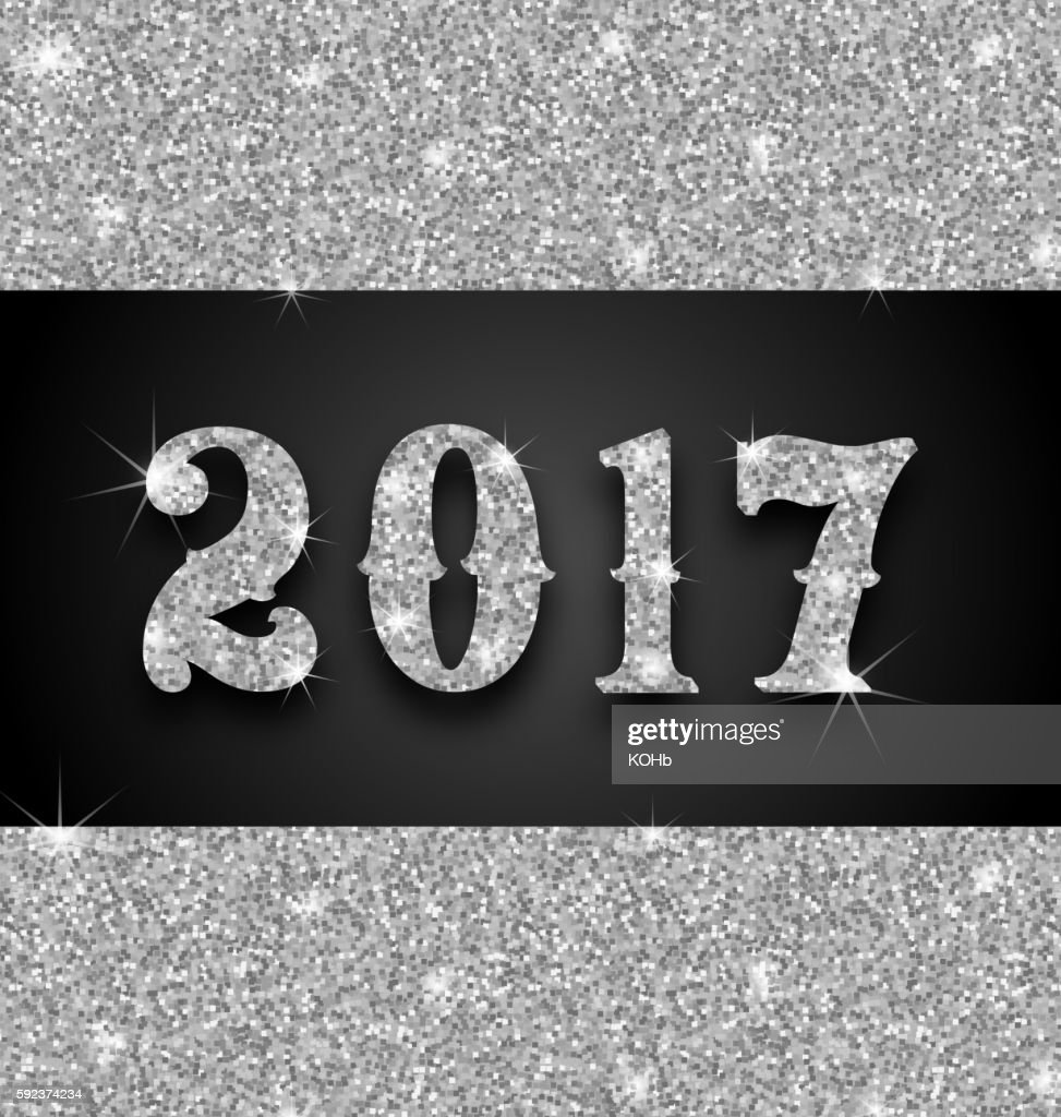 Shimmering Background with Silver Dust for Happy New Year 2017