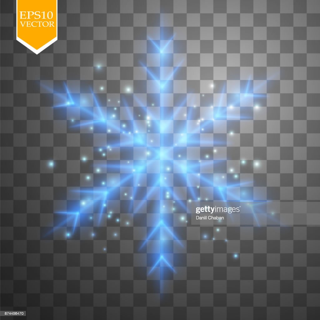 Shine blue snowflake with glitter isolated on transparent background. Christmas decoration with shining sparkling light effect. Vector