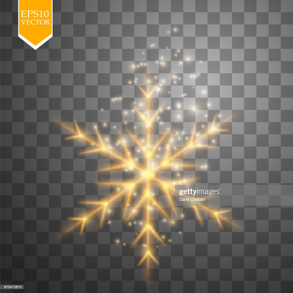 Shine gold snowflake with glitter isolated on transparent background. Christmas decoration with shining sparkling light effect. Vector