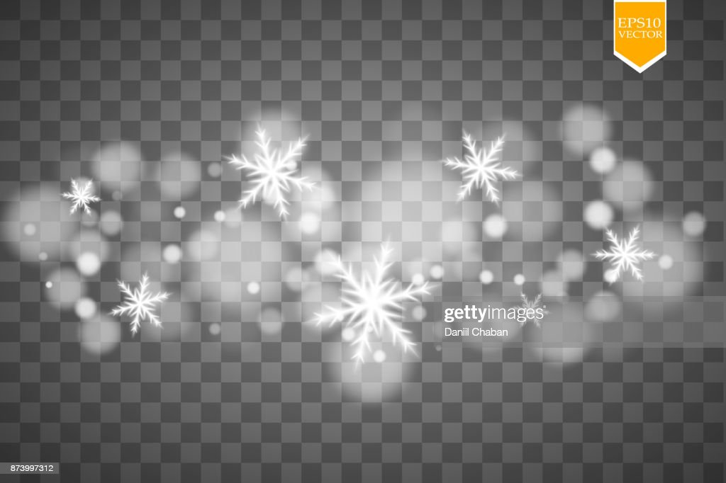 Shine white snowflake with glitter isolated on transparent background. Christmas decoration with shining sparkling light effect. Vector