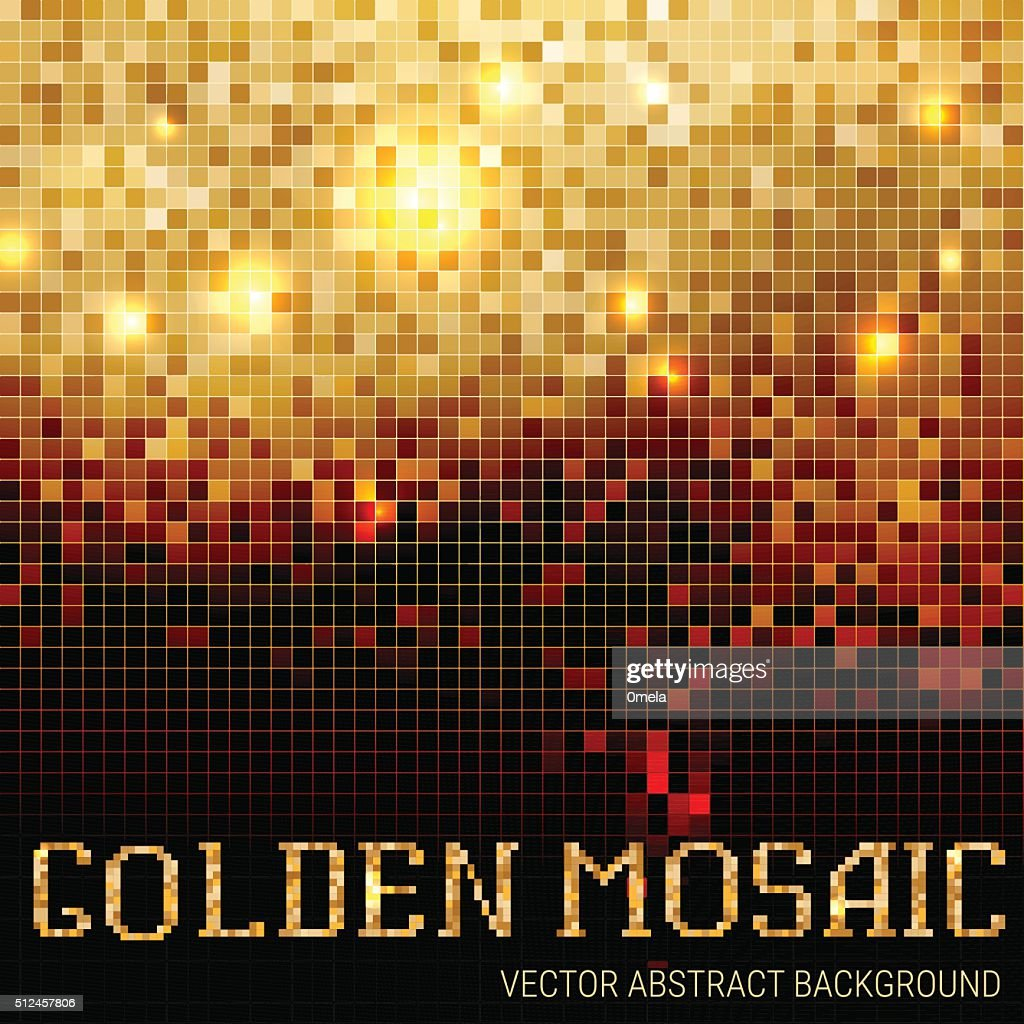 Shining abstract dark mosaic golden background.