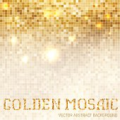 Shining abstract light mosaic golden background.
