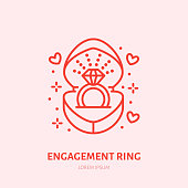 Shining brilliant ring in heart shaped gift box illustration. Jewelry flat line icon, jewellery store. Jewels engagement accessories sign