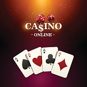 Shining casino banner. Spotlight poker design with playing cards. Casino poster