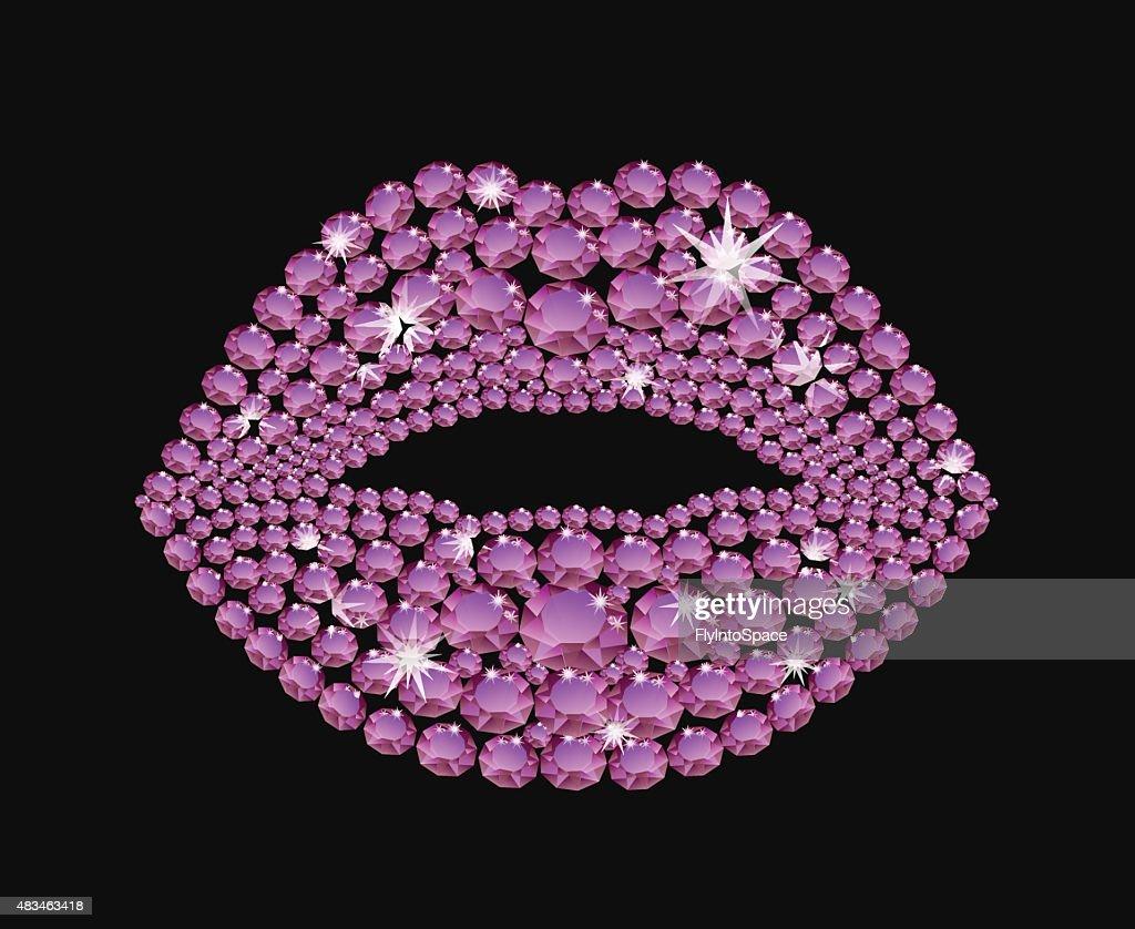 Shining diamond luxury lips