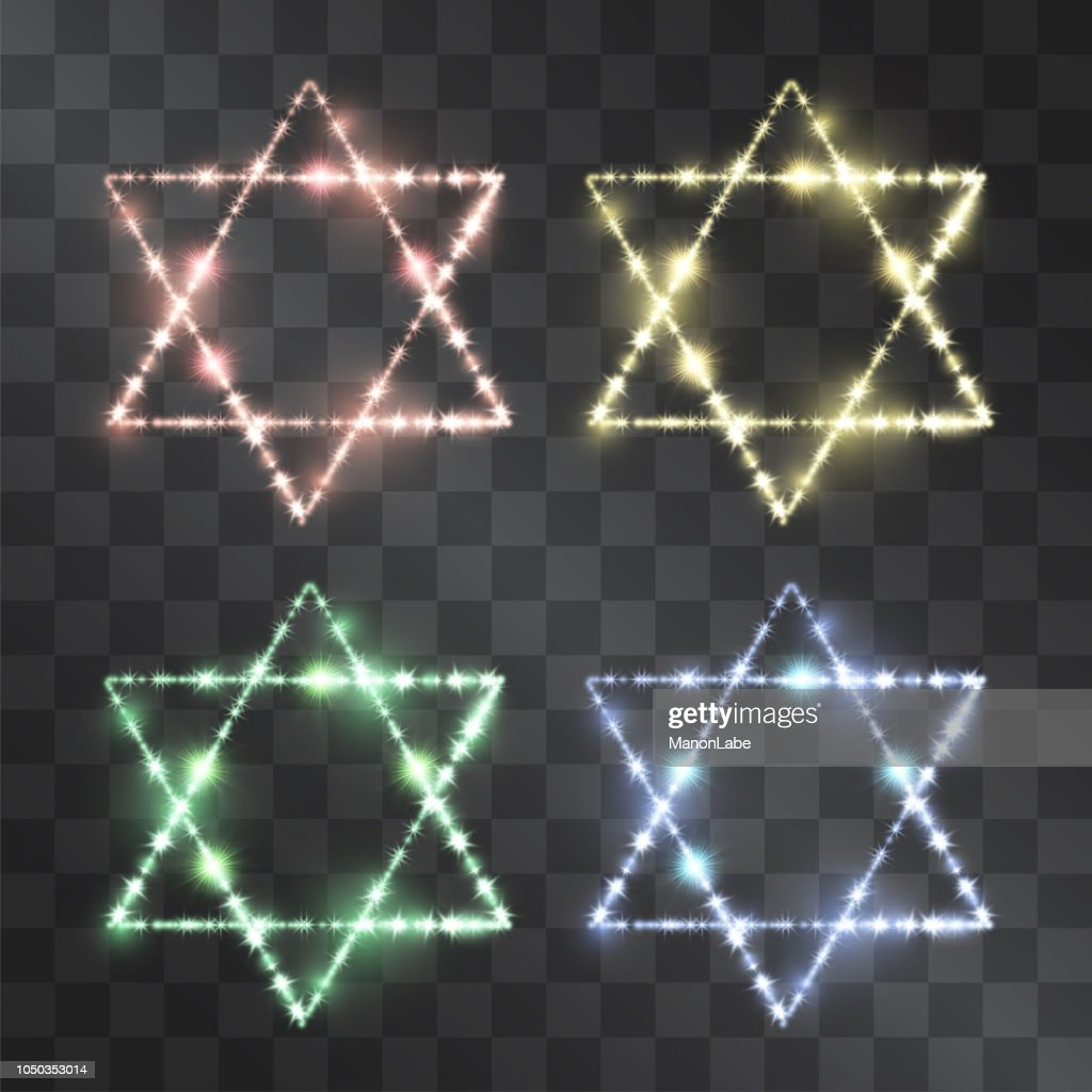 Shining glitter star of David light effect set isolated on transparent background. Glowing symbol of jewish church, hexagram Solomon seal. Hebrew identity icon made of brilliant stars, ancient amulet.