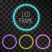 Shining led vector circle frames, neon illumination on transparent background, set of pink, teal, yellow, purple glowing decorative ring tapes of diode ecological lamps light for banners, web-sites.