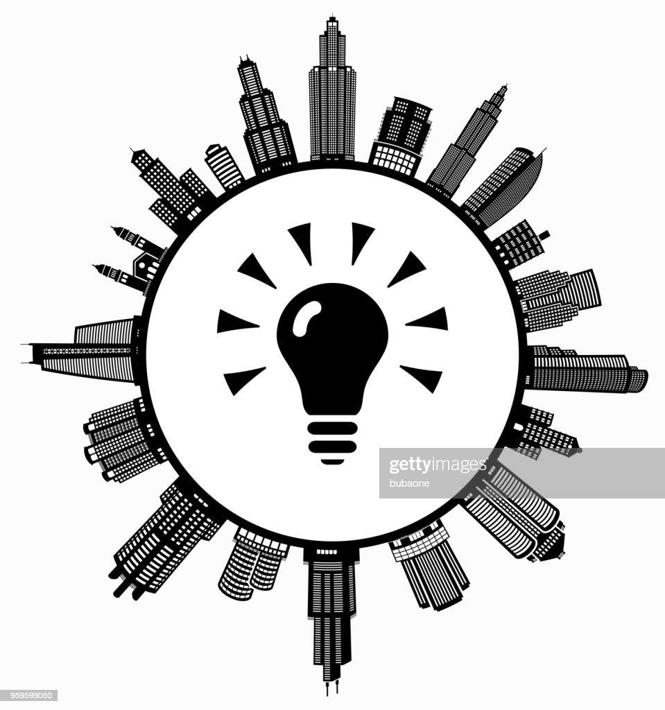 Leuchtende Glühbirne auf modernen Stadtbild Skyline Hintergrund : Stock-Illustration