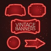 Shining retro banner with lights.