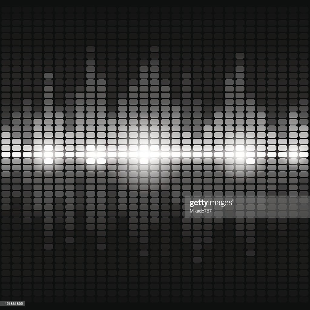 Shining silver digital equalizer background with flares