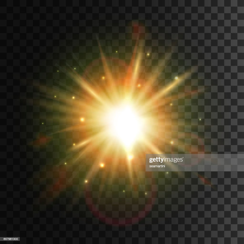 Shining star. Bright sun light lens flare effect