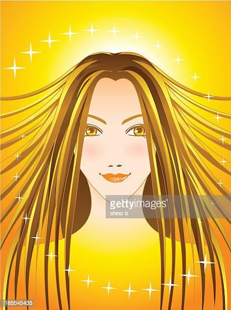 shining (golden) - hair color stock illustrations, clip art, cartoons, & icons
