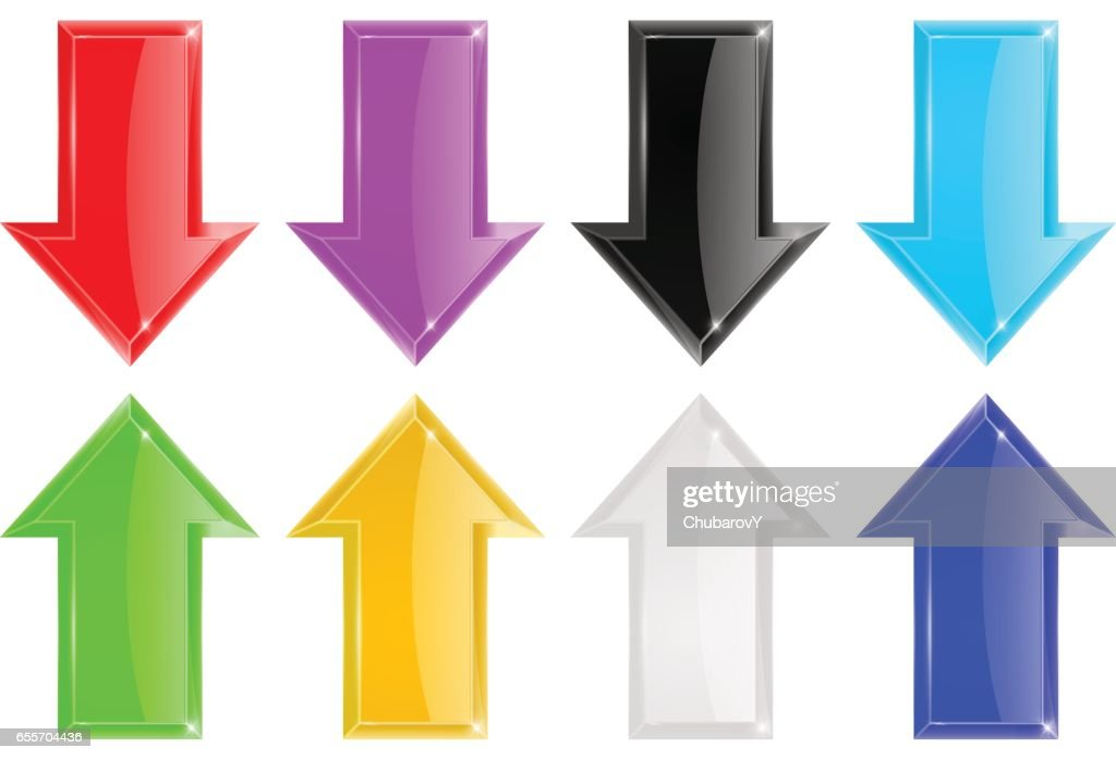 Shiny 3d arrows. Colored set