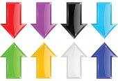 Shiny 3d arrows. Colored set
