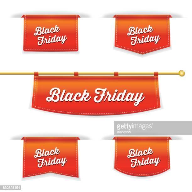 shiny 3d folded ribbon bookmark with  black friday text - rod stock illustrations, clip art, cartoons, & icons