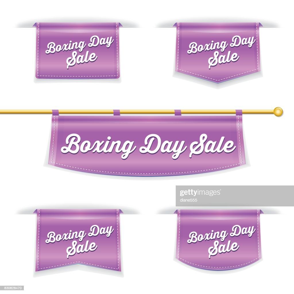 shiny 3d folded ribbon bookmark with boxing day text vector art