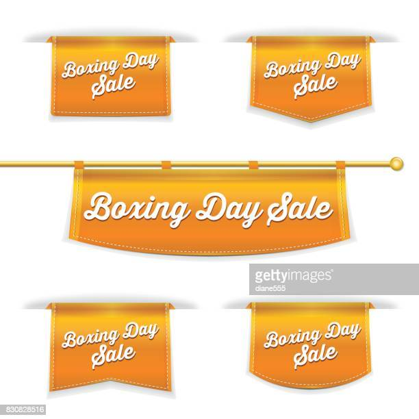 shiny 3d folded ribbon bookmark with boxing day text - boxing day stock illustrations