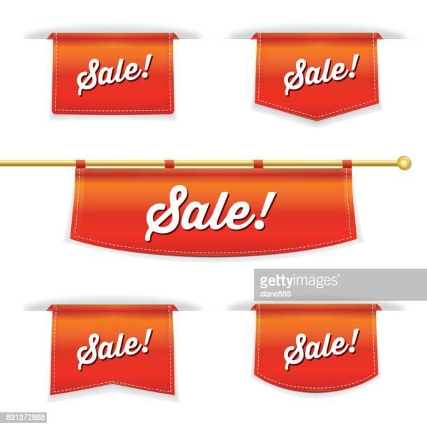 shiny 3d folded ribbon bookmark with sale text - bookmark stock illustrations, clip art, cartoons, & icons
