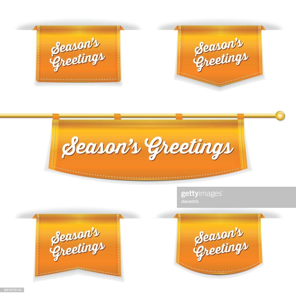 Shiny 3d folded ribbon bookmark with seasons greetings text vector shiny 3d folded ribbon bookmark with seasons greetings text vector art kristyandbryce Images