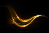 Shiny abstract gold stripe on dark background, vector illustration
