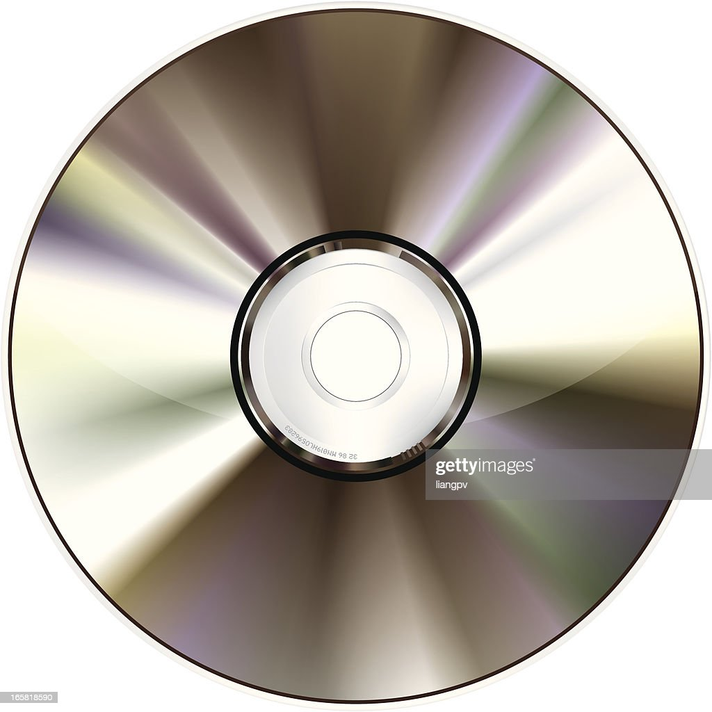 Shiny and unscratched CD-ROM with white background
