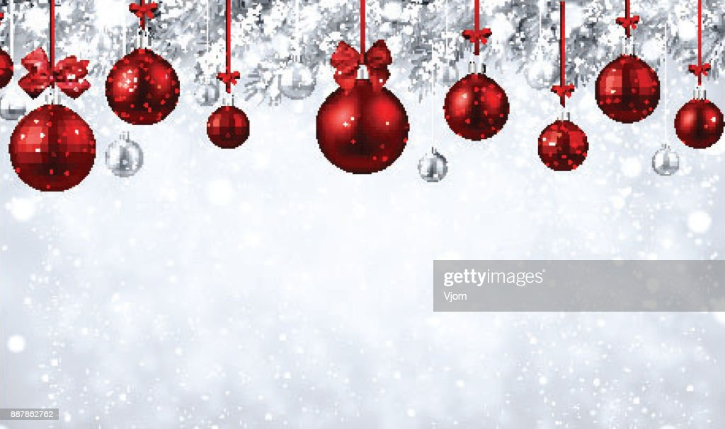 shiny background with red christmas balls vector art - Red Christmas Balls