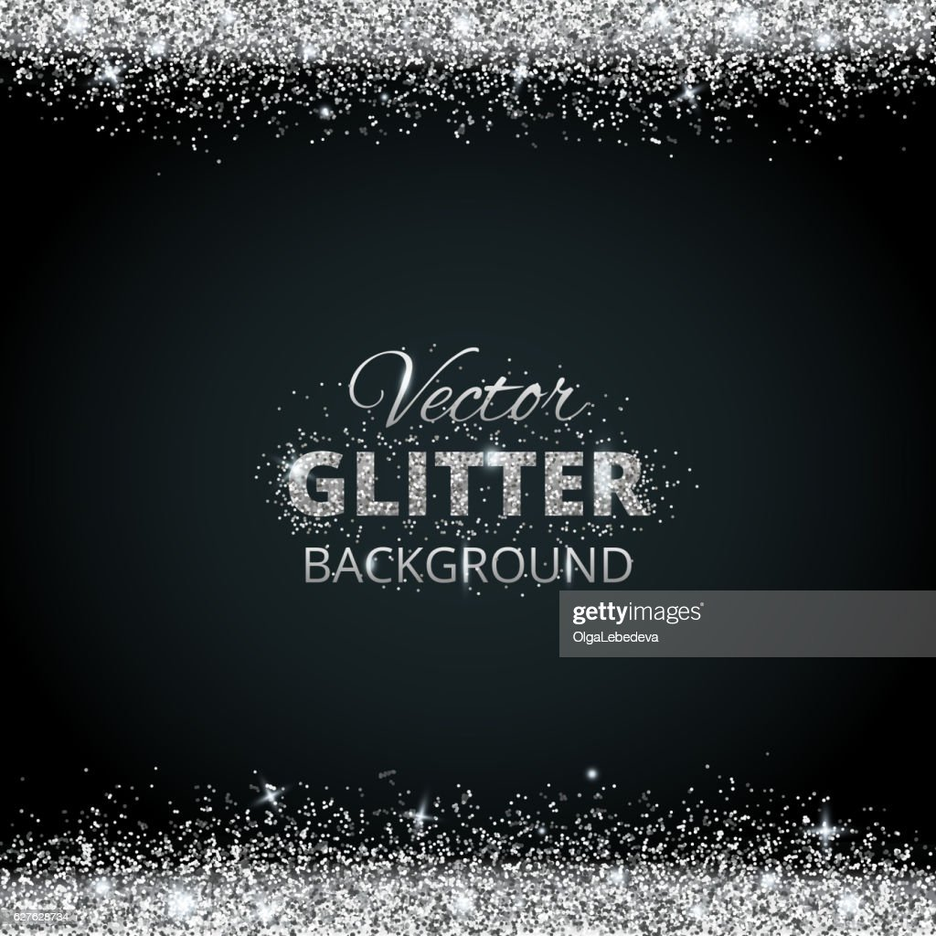 Shiny background with silver glitter frame and space for text