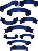 Shiny Banners, Ribbons, Stickers Set: Blue Metallic Satin